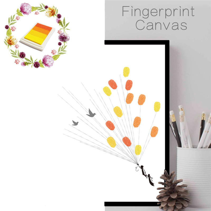 funlife wedding tree fingerprint wall stickers diy frameless wall poster baby shower party guest book home