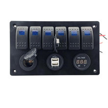 6 Gang LED Rocker Car Switch Control Panel Circuit Breakers Cigarette lighter plug Double USB port Voltmeter for Boat waterproof(China)