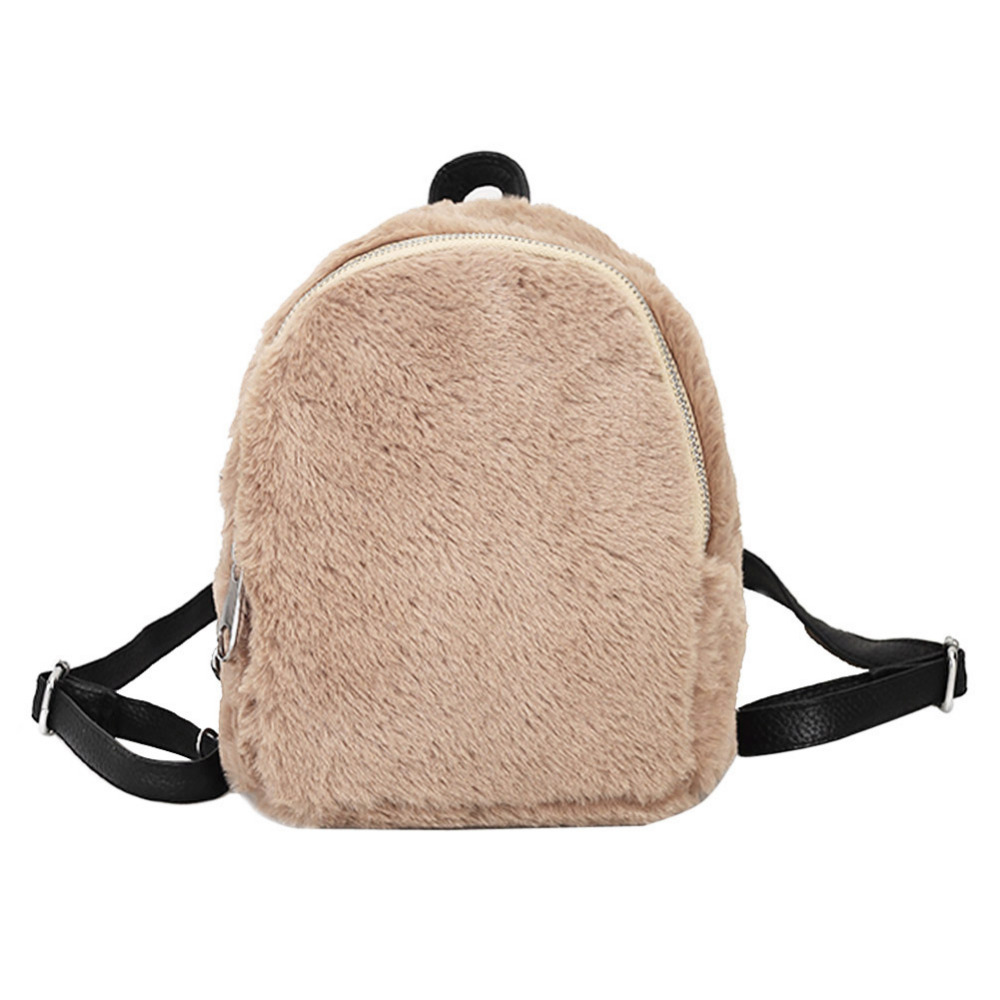 Winter Women Faux Fur Backpacks Cute School Bags For Teenagers Rabbit Hair Mini Daypack Soft Solid Color Shoulder Bags Rucksack 2017 new fashionable cute soft black grey pink beige solid color rabbit ears bow knot turban hat hijab caps women gifts