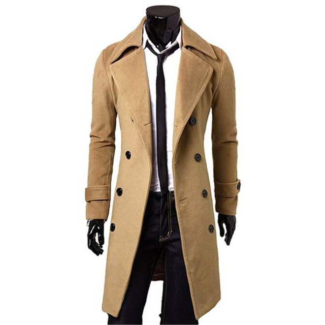 Elegante Trench Coat Inverno Dos Homens Outwear Casaco Fino Casaco Longo Casaco Dupla Breasted Casaco de Lã