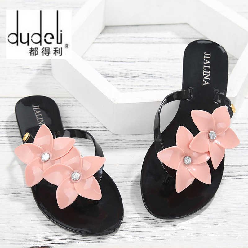 DUDELI 女性サンダルフラットスリッパ靴女性の花のフリップは、花ゼリー夏ビーチ屋内 PVC Supersta フラットスライド