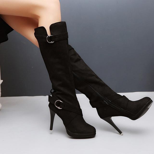 YOUYEDIAN Kadınlar Bayanlar Ayakkabı Toka Roma Platformu Yüksek Topuklu Diz Çizmeler Martin Uzun Çizmeler sapatos mulheres conforto # a35