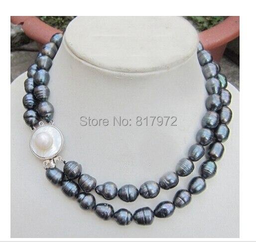 Top de mariage véritable perle 10-11mm AAA naturel noir couleurs perle à la main 2 couche collier femmes bijoux eau douce mode cadeau