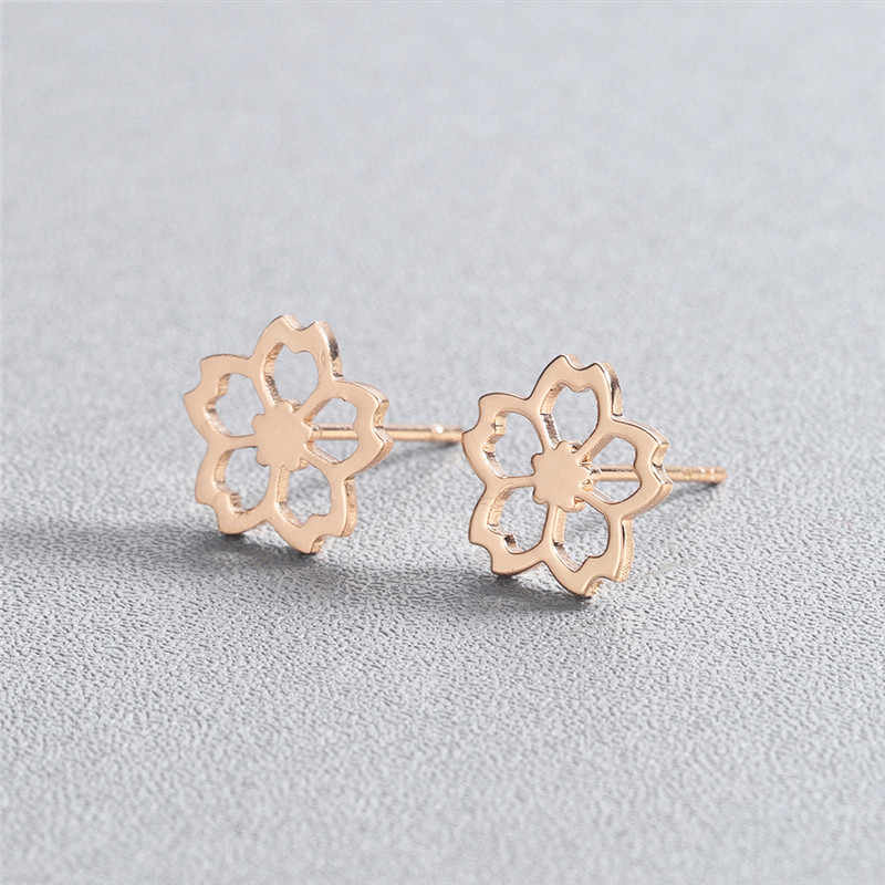 QIMING Hollow Out เชอร์รี่ต่างหูดอกไม้สำหรับผู้หญิง Minimalist ขนาดเล็ก Flora Rose Gold Tiny สแตนเลสต่างหูต่างหูหญิง