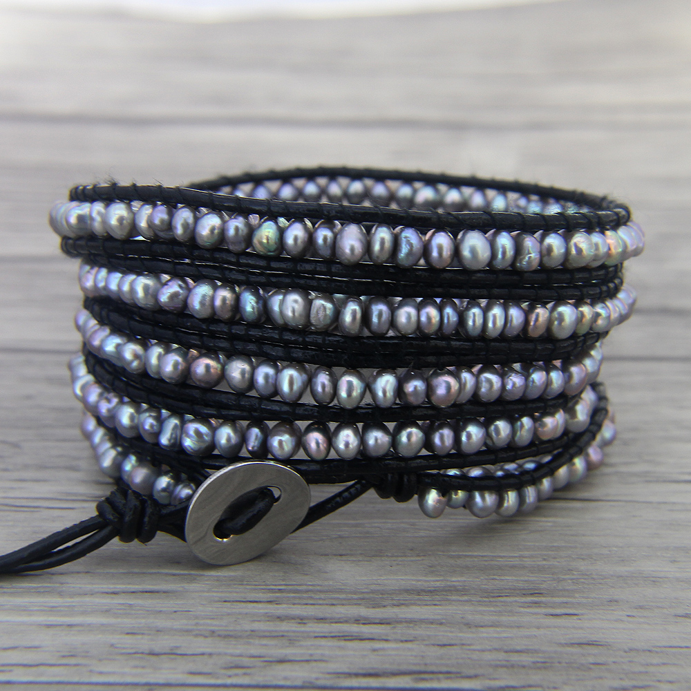 Boho Pearl Wrap Bracelet Grey Freshwater Leather Yoga Bead Jewelry Bohemian In Bracelets From Accessories On