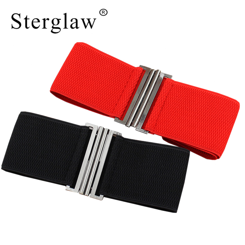 65x7cm Womens Retro Stretch Buckle Waist Belt For Women Leisure Red Black Wide Elastic Corset Cinch Waistband Ceintures F143