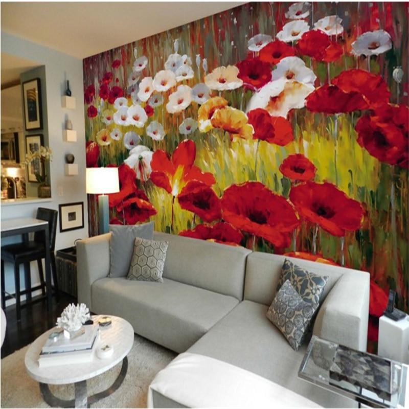 Beibehang Large Custom Wallpaper Beautiful Poppy Flower Wall Murals Background Wall Papel De Parede Para Sala Estar