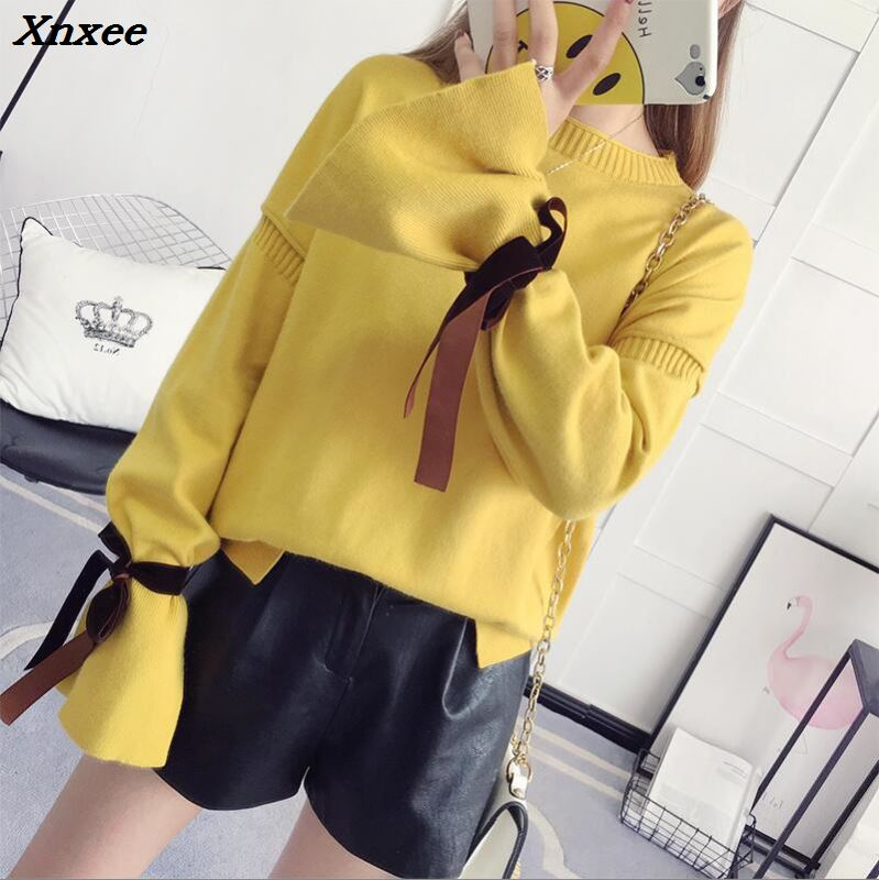 2018 Women Sweater Lantern Sleeve Women 39 s Sweaters For Winter Casual Lady Sweater O neck Xnxee in Pullovers from Women 39 s Clothing