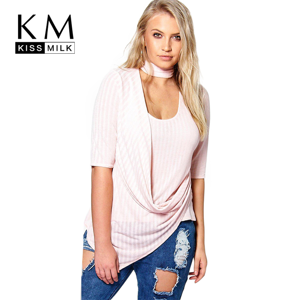 aa7cd20d6ed Kissmilk Plus Size New Fashion Women Clothing Casual OL Style Halter Sexy  Tops Knitted O Neck Big Size Shirt 3XL 4XL 5XL 6XL-in Blouses   Shirts from  ...