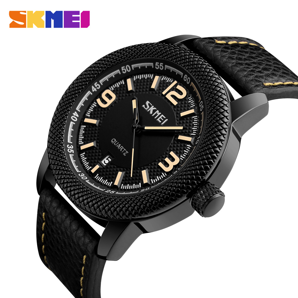 SKMEI Luxury Brand Fashion Men Sports Watches Men's Quartz Waterproof Date Clock Man Leather Strap Military Casual Wrist watch цена