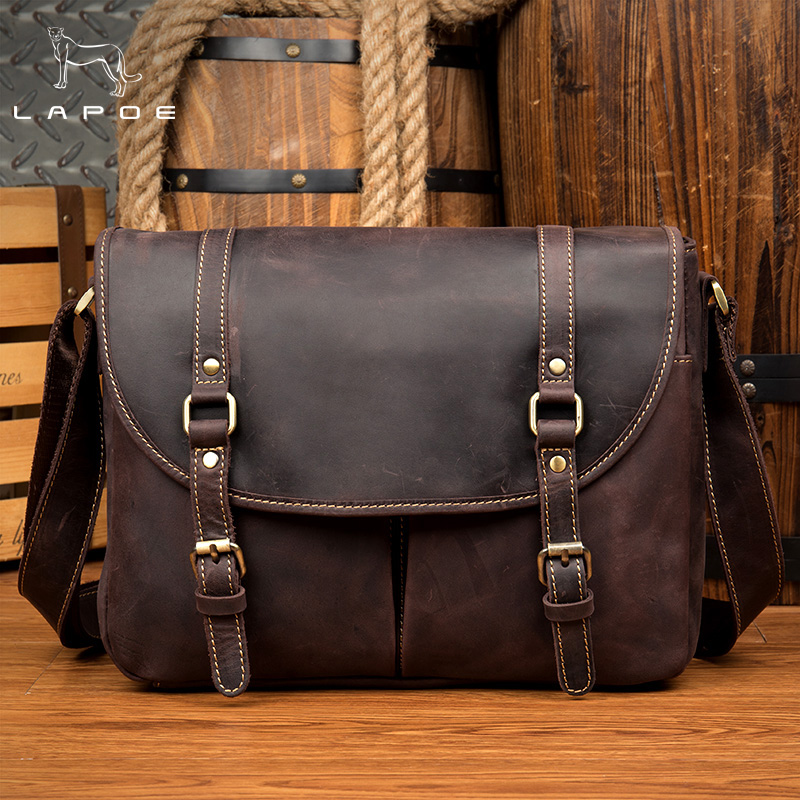 LAPOE Crazy Horse Genuine Leather Men Bag Crossbody Bags Zipper Vintage Messenger Bag Men Leather Handbag Shoulder Bags Mens