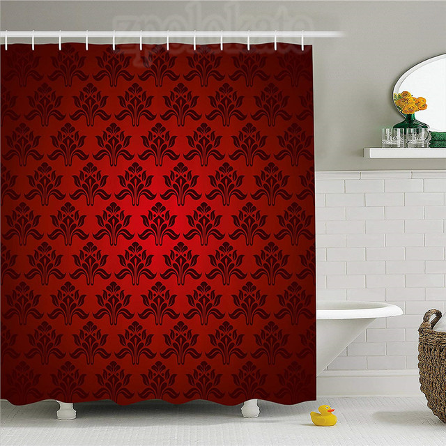 Maroon Shower Curtain Classical Antique Pattern Baroque Damask Motifs  Curves Renaissance Revival Fashion Fabric Bathroom Decor