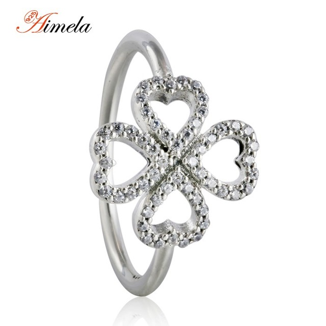 2016 Valentine's Day Petals of Love Heart Rings for Women 925 Sterling Silver AAA CZ Pave Lucky Four Leaf Clover Rings RIP148