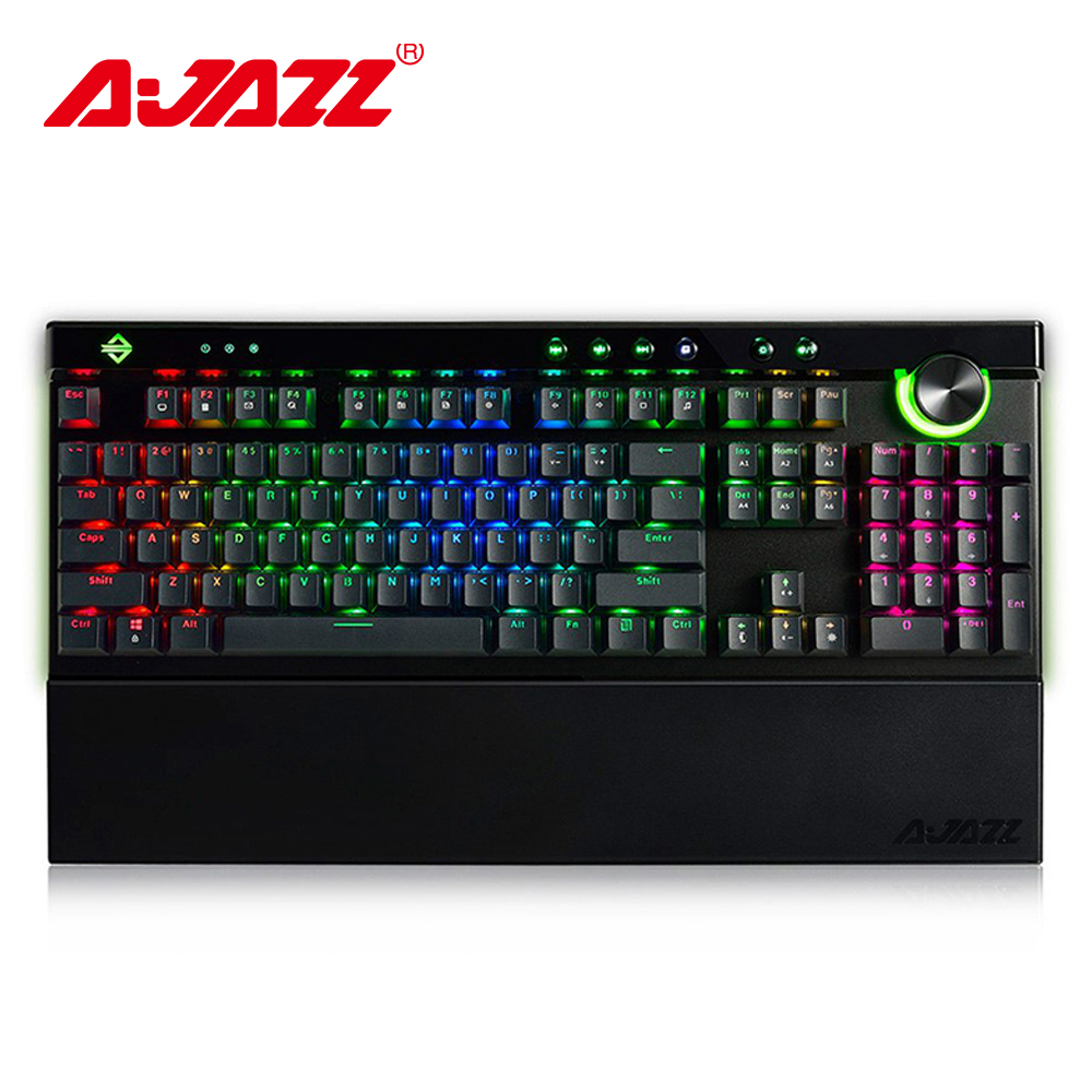 Ajazz AK45 111 Keys RGB Mechanical Keyboard Box Black/Brown/Red/White Switches Ergonomic Arc With Dual-mode Knob and Wrist RestAjazz AK45 111 Keys RGB Mechanical Keyboard Box Black/Brown/Red/White Switches Ergonomic Arc With Dual-mode Knob and Wrist Rest