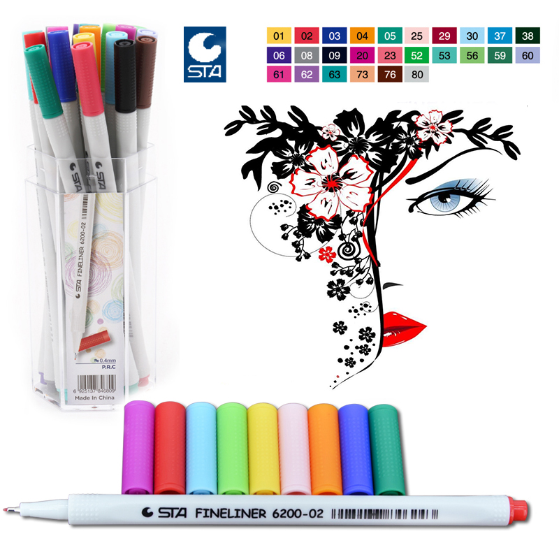 STA 26 Colors Fineliner Pen Set 0.4mm Water Based Assorted Ink No-tox Material Marker Pens Drawing Pen School Supplies 0 4 mm 24 colors fineliner pens marco super fine draw not stabilo point 88 marker pen water based assorted ink no tox material