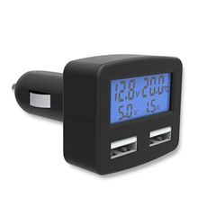 Alloet Universal 5 in 1Dual USB Car Phone Charger with Display Temperature voltage