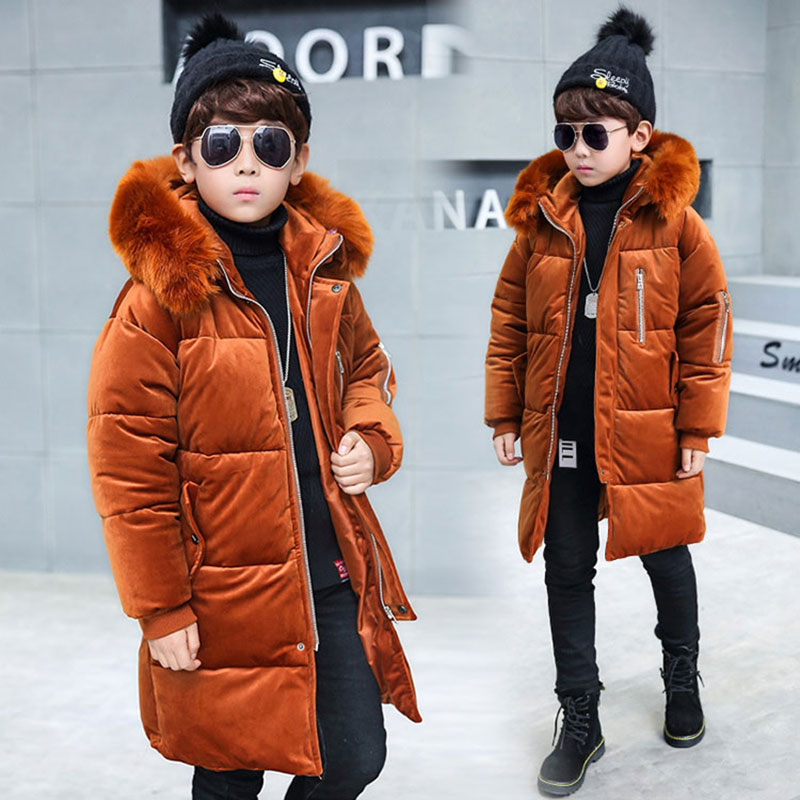 ff1937e5b205 Winter Hooded Jacket for teenage Boy kids Clothing Outfit Thicken ...