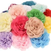 12 pçs chiffon babados flor do cabelo 7cm chiffon flores acessórios para o cabelo acessório moda decoração casamento flor para bandana