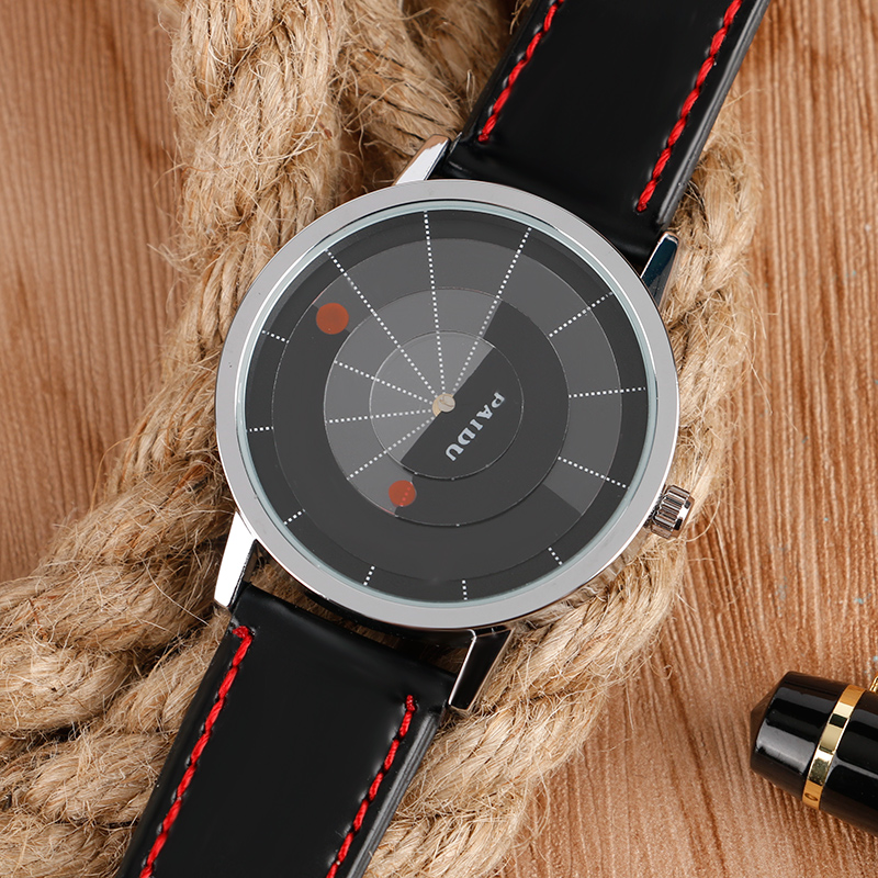 2018 Stylish Turntable Fashion Style Wrist Watch Black Leather Band Strap High Quality Men Women Watches For Gift