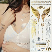 1 Pcs New Fashion Temporary Tattoo Elephant/Feathers/Flowers Gold Tattoo Sexy Flash Body Paint