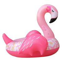 150CM Giant Flower Print Flamingo Pool Float 2019 Newest Pink Ride On Swim Adult Water Plaything Party Inflated Fun Toys Piscina