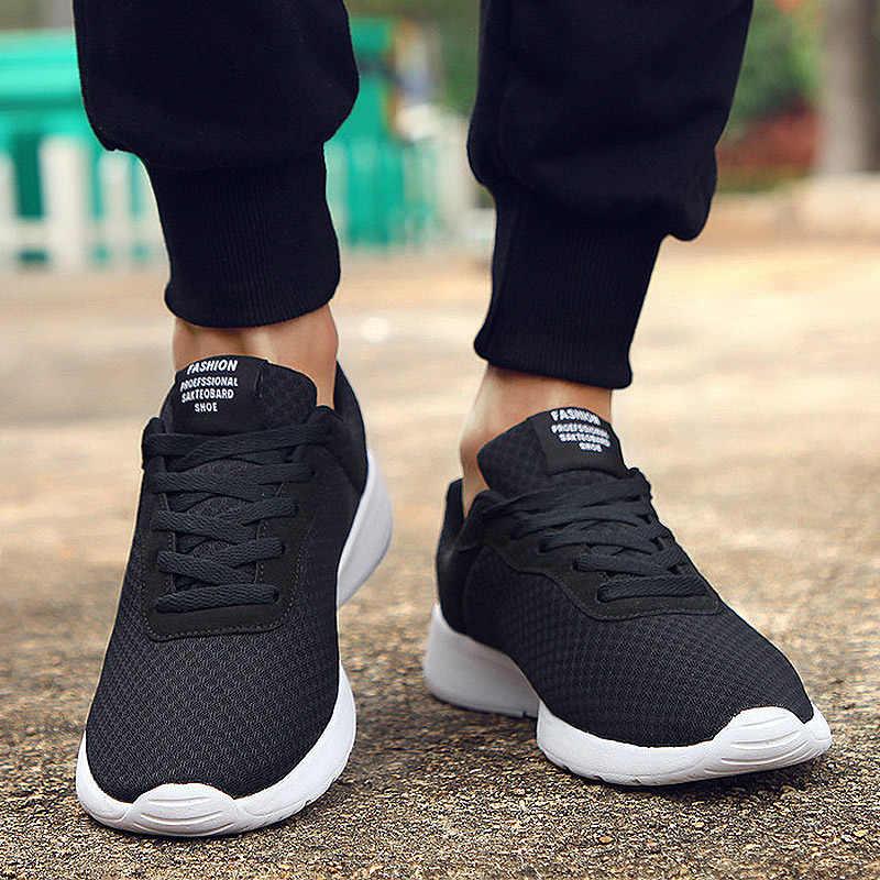 2019 ใหม่ผู้ชายรองเท้าลูกไม้ Lace up รองเท้าผู้ชายน้ำหนักเบาสบาย Breathable เดินรองเท้าผ้าใบ Tenis Feminino Zapatos