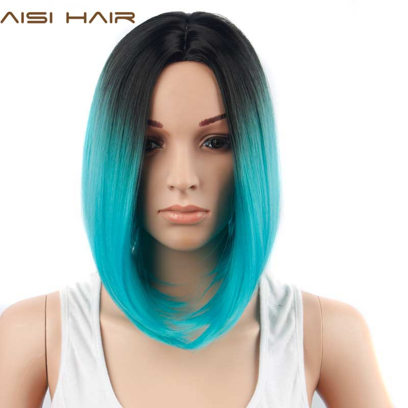 AISI HAIR Ombre Blue Wig Synthetic Hair Short Wigs for Women Black Bob Straight Hair