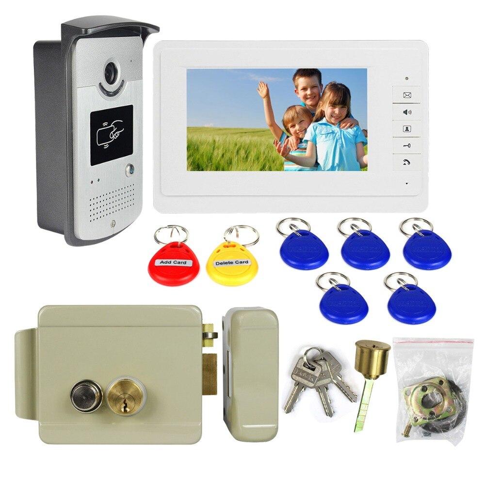 Electric Lock Door+7 TFT Wired Video Intercom Monitor Video Door Phone Doorbell Camera Set for Home Apartment F1667Z door intercom video cam doorbell door bell with 4 inch tft color monitor 1200tvl camera