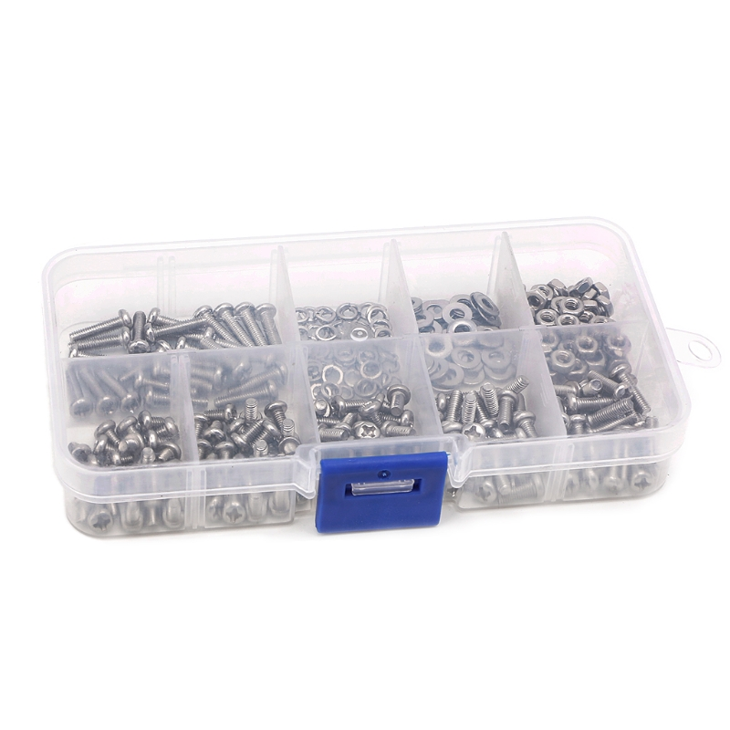 300PCS M3 Stainless Steel Cross Screw Nut Woodworking Tools Fastener Hardware 'zt