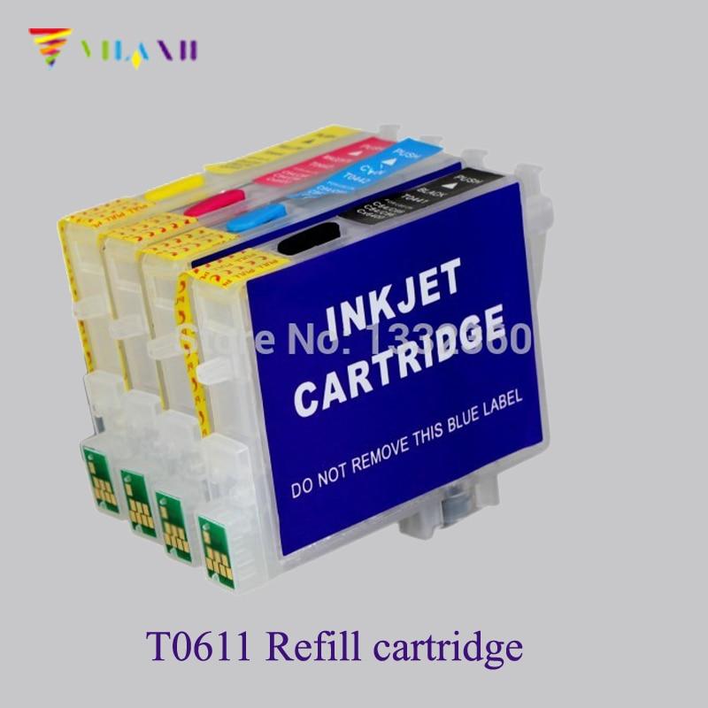 T0611 - T0614 Doldurulabilir mürekkep kartuşu çip epson t0611 için Stylus DX3800 DX4850 D68 D88 DX3850 DX4200 DX4250 DX4800 yazıcı
