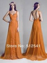2014 New Arrive Lace Prom Dresses Sheath Sweetheart Ruffl Organza Open Back Summer Girl Gowns yk8R702