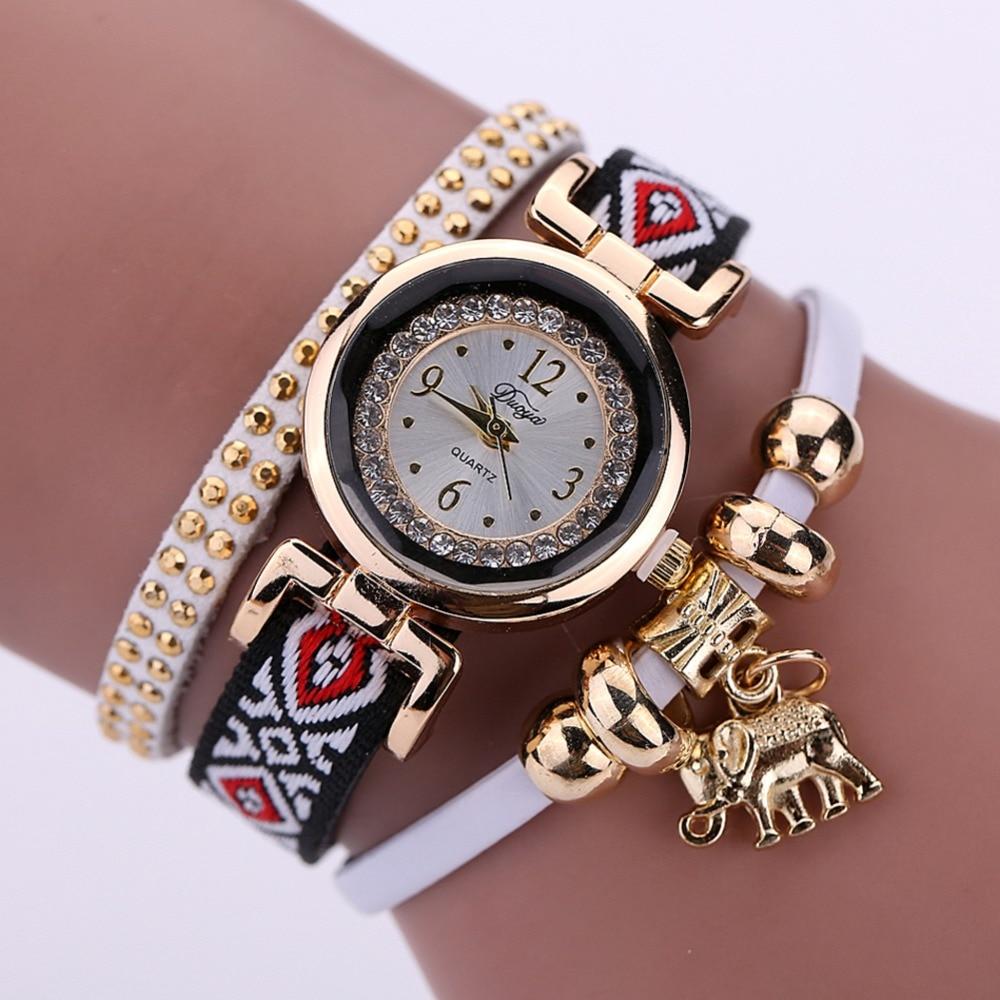 Luxury Diamond Women Watches Women 2017 Gold Elephant Women Watch Bracelet Casual Ladies Watch Clock horloges vrouwen wrap bracelet gold dial digital red leather strap ladies luxury quartz watch horloges vrouwen women watches wristwatch megir 382