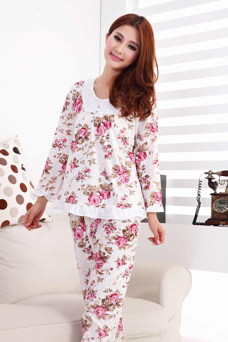 Foply 2018 модные стильные Хлопковые женские пижамы цветочные женские пижамы  с длинным рукавом элегантные женские пижамы 63a84b939fe39