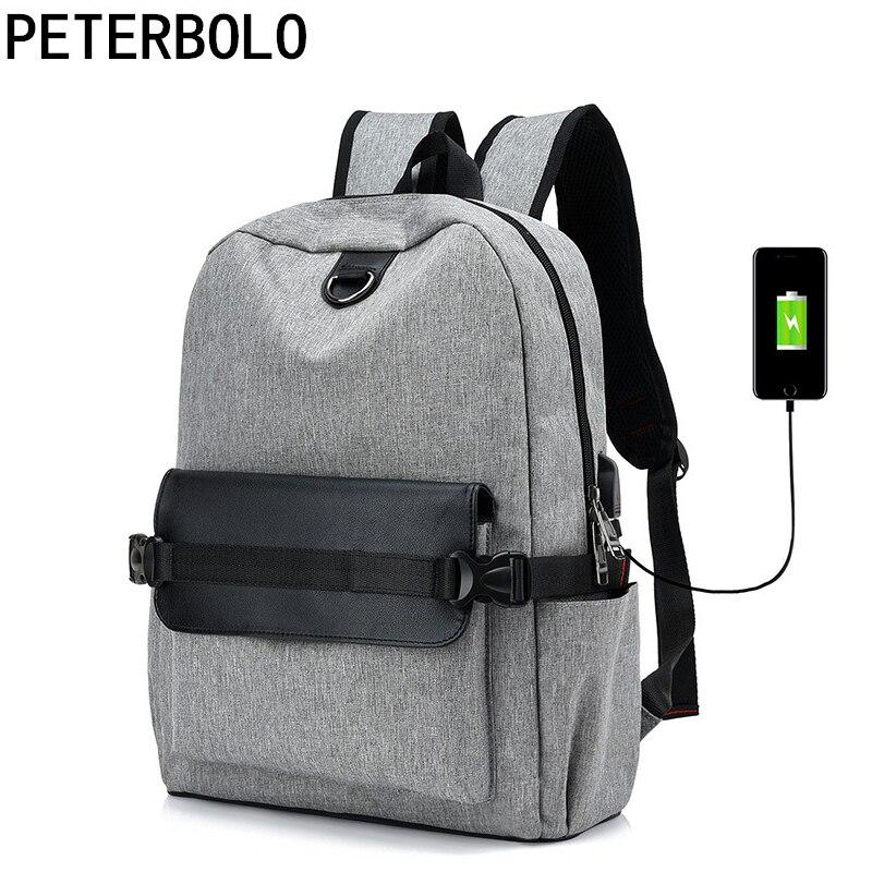Canvas Men USb Charging Design Backpack Panelled Boy School Bag Couple Large Size Travel Backpack Durable Mochila Multispace Bag