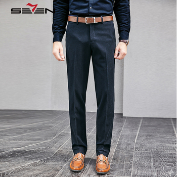 Seven7 2018 New Autumn Winter Navy Blue Pants Men Casual Business Trousers Male Straight Formal Office Dress Pants 113B70030