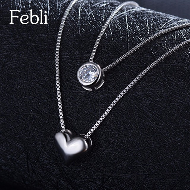 Febli Simple And Elegant Silver Color Heart Shaped Double Deck