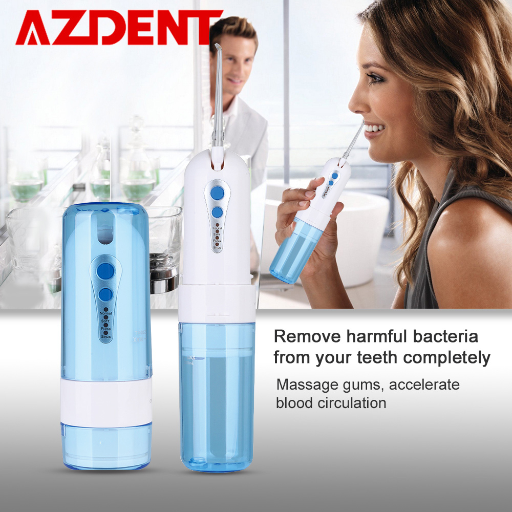Collapsible 4 Modes Water Dental Flosser Portable Fold Oral Irrigator USB Rechargeable Waterproof 200ml Water Tank + 5 Jet Tips azdent fashion 4 modes portable fold electric oral irrigator usb charging water dental flosser rechargeable 200ml 5 jet tips