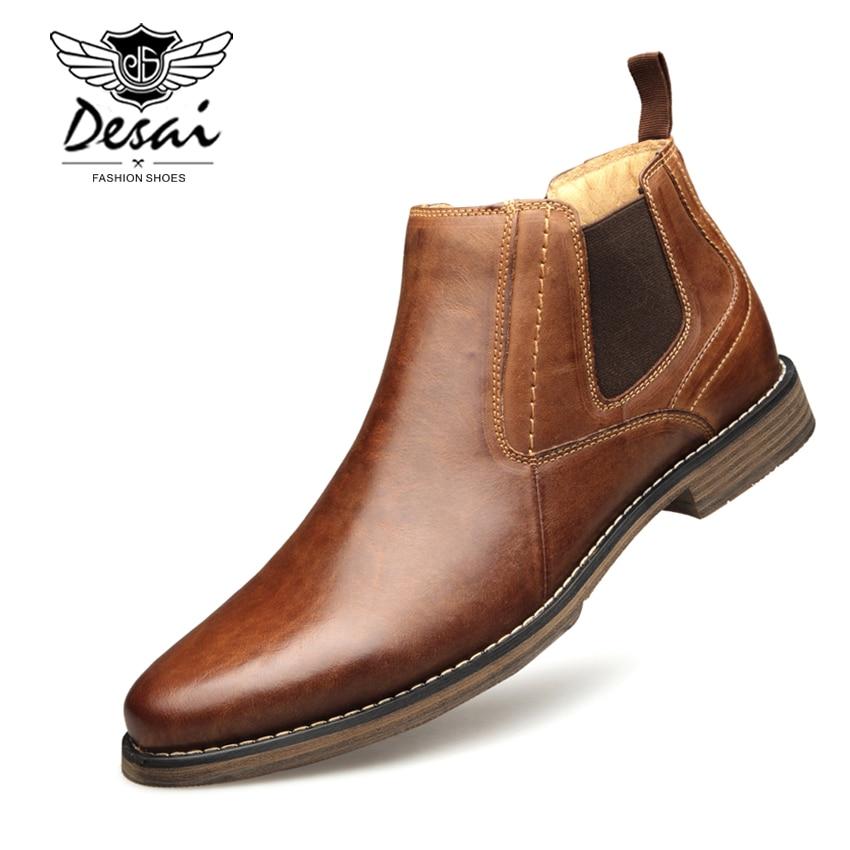 DESAI Genuine Leather Men s Boots Vintage Style High Cut Lace Up Shoes Men Fashion Casual