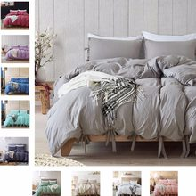 Home Textile Tie Decor Duvet Quilt Cover Solid Microfiber Fabric Bedclothes Bed Cover Pillowcase Bed Linen Bedding Sets King(China)