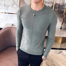 Casual Knitting Striped Round Neck Classic Solid Color Men Pullover 2018 Autumn Succinct Adult Long Sleeve Male Sweater M-3XL