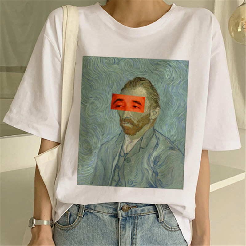 Van Gogh Oil Art Print T-shirt Female Top Women Casual New Streetwear Tshirt Harajuku Graphic Tee Shirts 2019