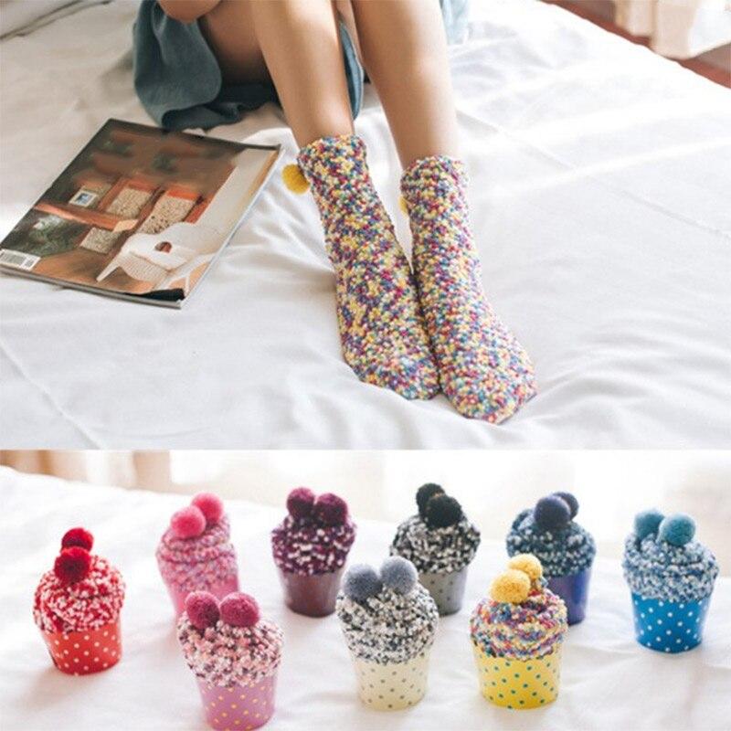 Autumn Winter Women Warm Socks Coral Velvet Fleece Lady Girls Casual Home Floor Socks H9