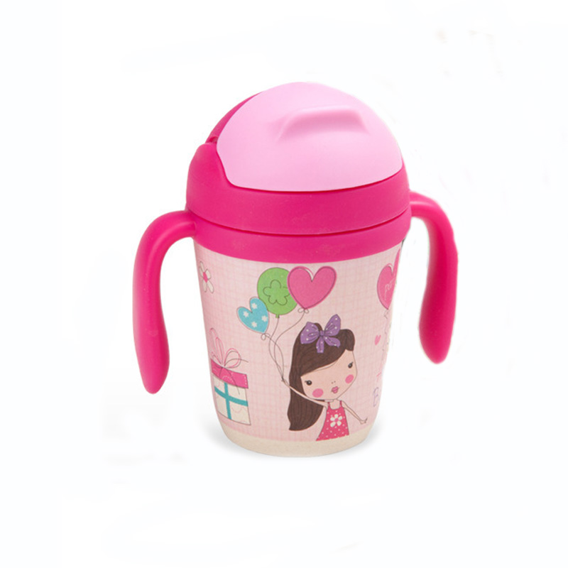300ml Baby Kids Straw Water Cup with Handle Bamboo Fibre Material Feeding Bottle For 24M Cartoon Styles Gifts copos 240ml baby drinking water bottle cups with straw portable feeding bottle cartoon water feeding cup with the handle for baby hot