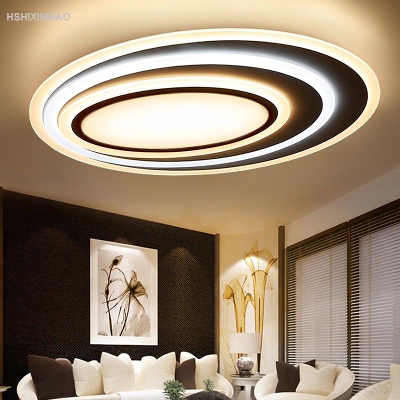 US $112.32 28% OFF|Postmodernen Acryl Kunst Well Led deckenleuchte  Wohnzimmer Schlafzimmer Studie Oval Ultra dünne Dimmen Decke lampen-in ...