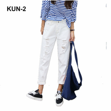 2c8ccc5aafe2 New Fashion High Elastic Cotton Women s Black High Waist Torn Jeans Ripped  Hole Knee Skinny Pencil