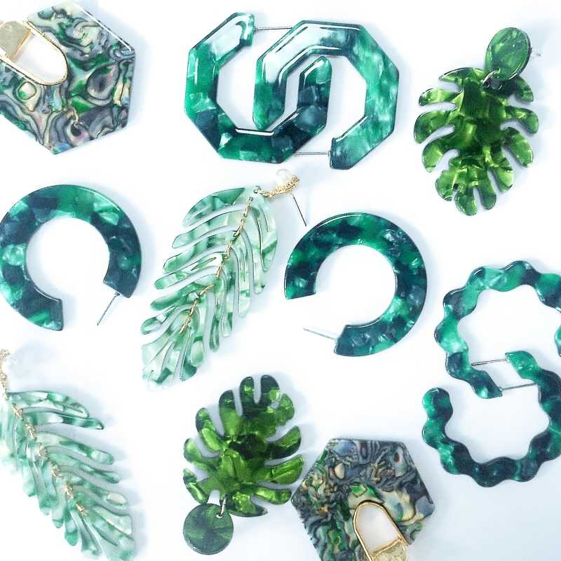 2019 Hot Acrylic Resin Green Leaves Dangle Earring For Women Fashion Tortoiseshell Geometry Acetate Party ZA Jewelry Brincos
