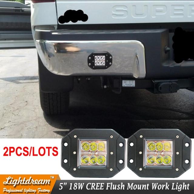 pair 18w flush mount led work light 12v 24v rear fog lamp 4x4