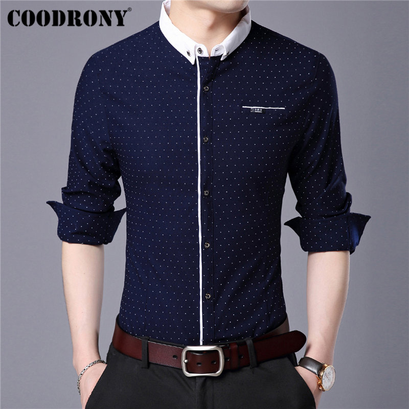 COODRONY Brand Men Shirt Autumn New Arrival Long Sleeve Cotton Shirt Men Streetwear Fashion Dot Small Collar Casual Shirts 96020
