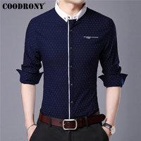COODRONY Brand Men Shirt Autumn New Arrival Long Sleeve Cotton Shirt Men Streetwear Fashion Dot Small Collar Casual Shirts 96020