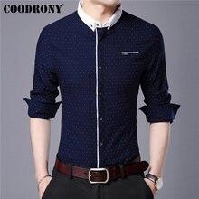 COODRONY de los hombres de la marca camisa otoño lpiernaada de un nuevo manga larga algodón camisa de los hombres Streetwear moda punto collar pequeño Camisas Casual 96020